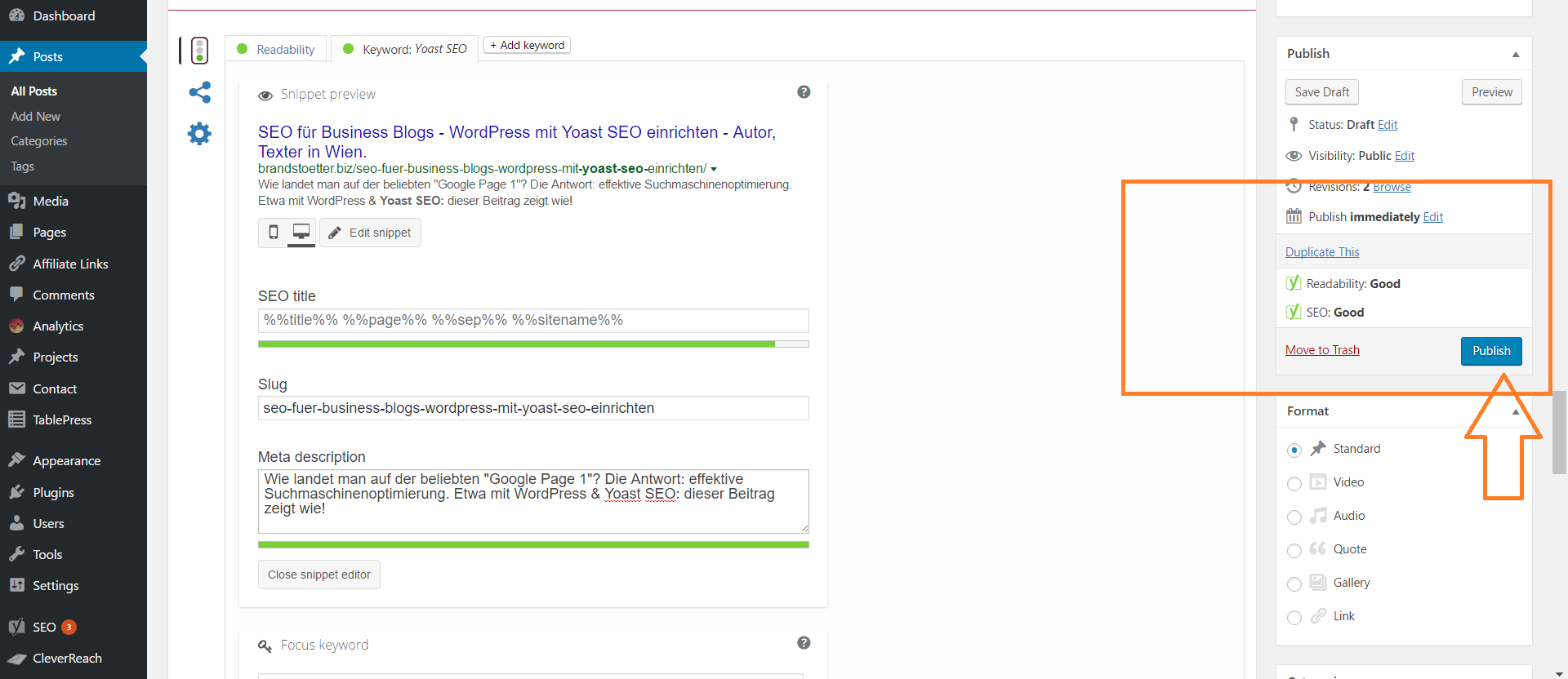 Grüne Lichter Veröffentlichen - Yoast SEO für WordPress Blog