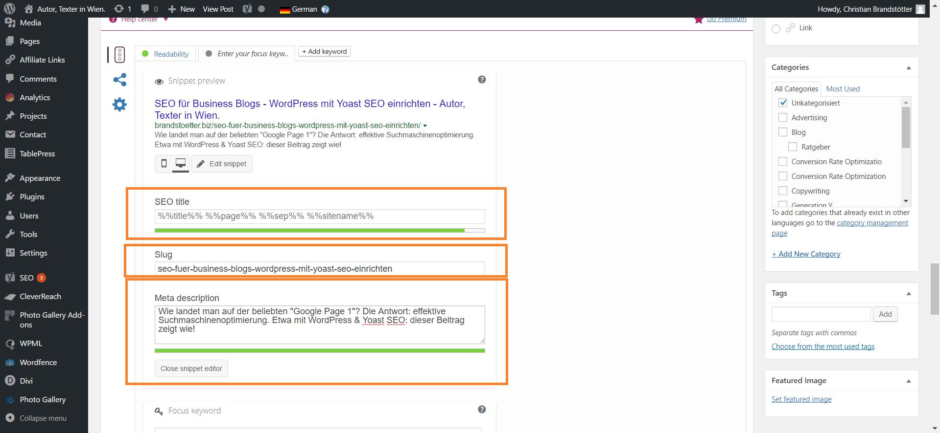 Yoast SEO für WordPress - Blog optimieren Plugin Felder Ausgefüllt